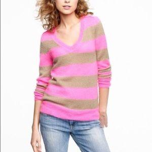 J.Crew Pink & Tan Striped VNeck Sweater